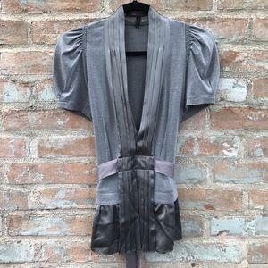 BCBG Silver Grey V-neck Silk Pleated Collar Blouse